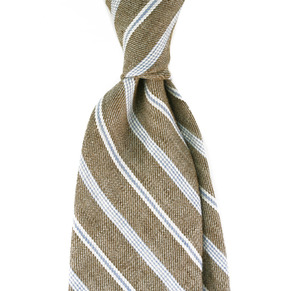 Wool Beige Brown In White Stripe