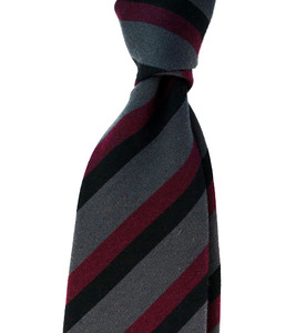 Italian Wool Dark Grey In Wine Stripe