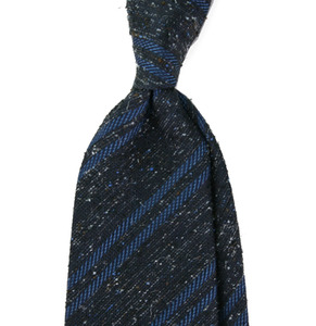 Italian Tweed Navy In Blue Stripe