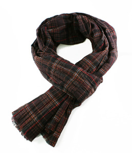 Cotton Brown Check Wrinke Stole